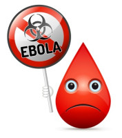 The sad drop of blood with yellow Ebola virus, biohazard warning sign - isolated vector