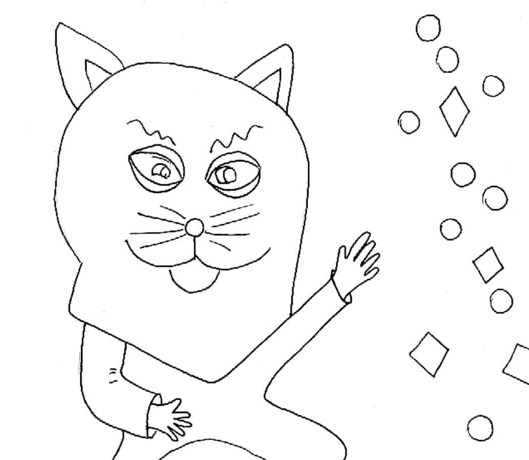 Bambino vestito da gatto da colorare