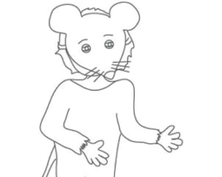 Disegno di un bambino mascherato da topo