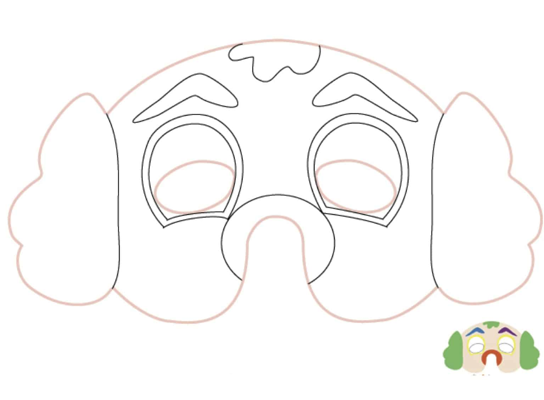 Maschera da pagliaccio da stampare e colorare