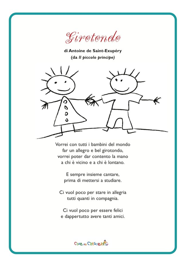 Girotondo E Natale.Girotondo Poesia Di Antoine De Saint Exupery Per Bambini