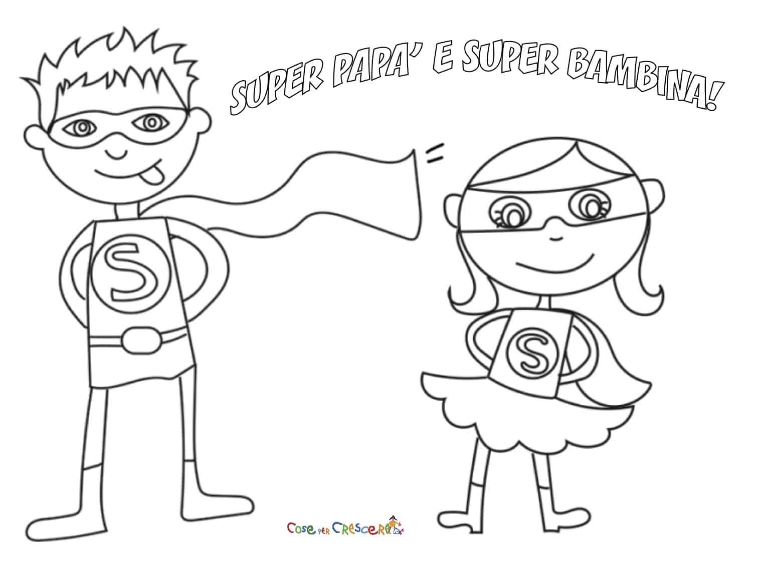 Super papà e super figlia da colorare