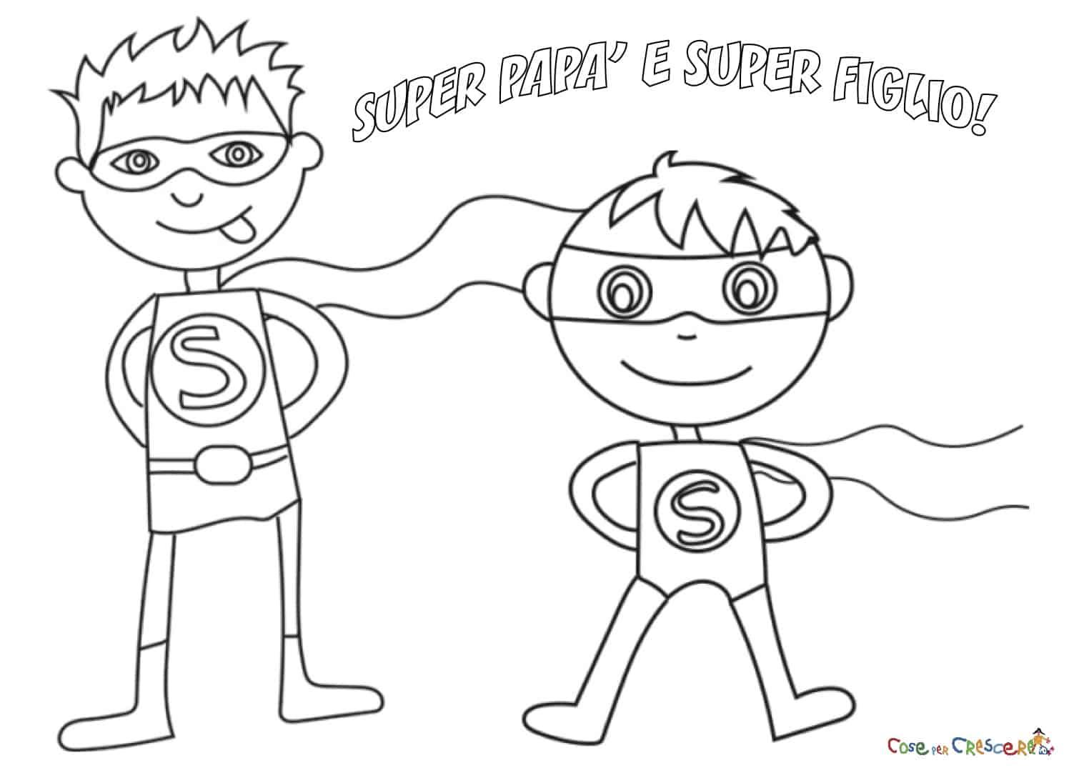 Super papà e super figlio da colorare
