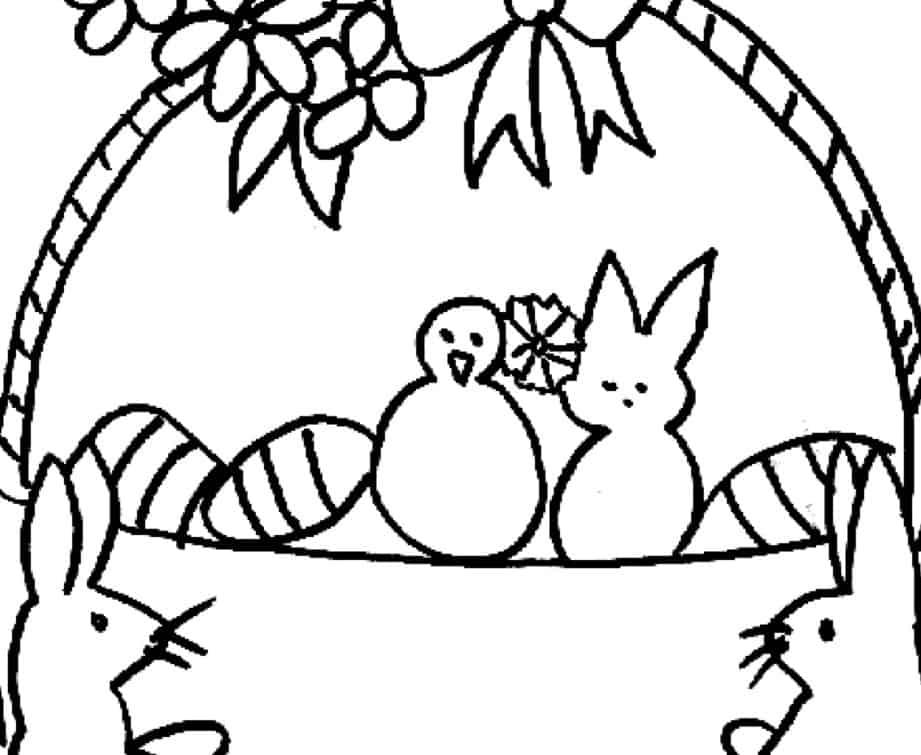 Cestino di Pasqua e coniglietti da colorare