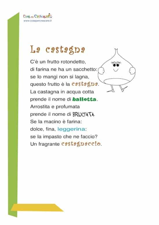 la castagna: poesia per bambini