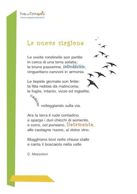 poesia per bambini da stampare