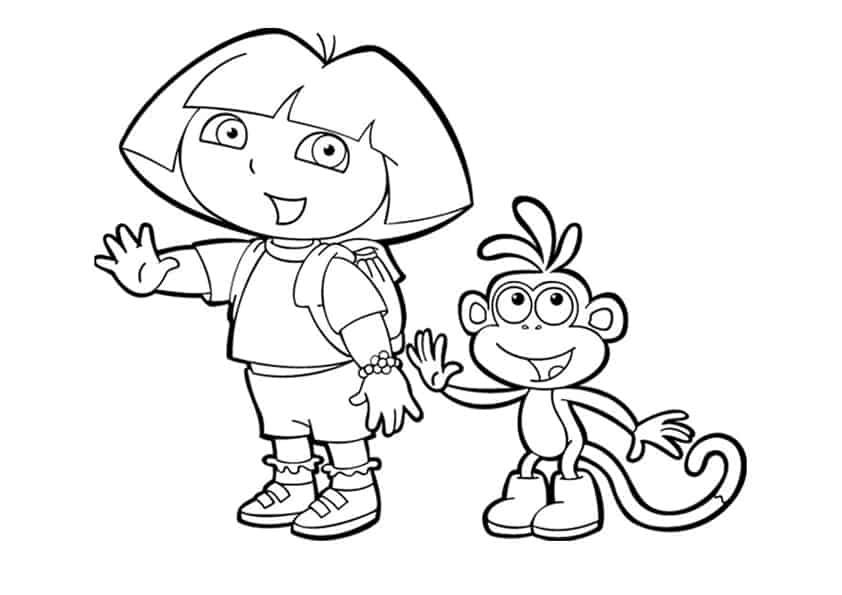 Dora e Boots da colorare
