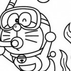 Doraemon subacqueo da colorare
