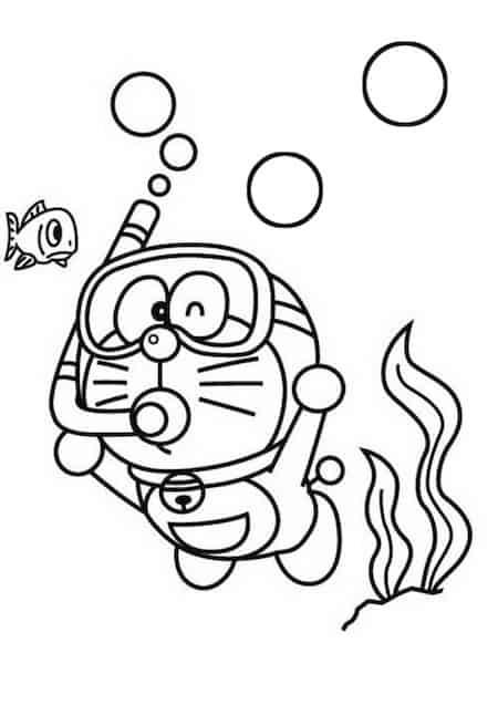 Doraemon subacqueo da colorare cose per crescere for Doraemon immagini da colorare
