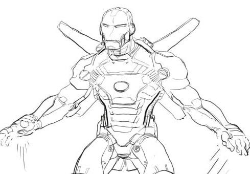 Disegni Da Colorare Con Iron Man.Iron Man Con Armatura Da Colorare Cose Per Crescere