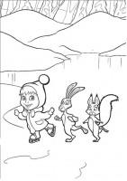Masha e conigli da colorare