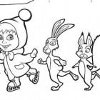 Disegno di Masha e i conigli