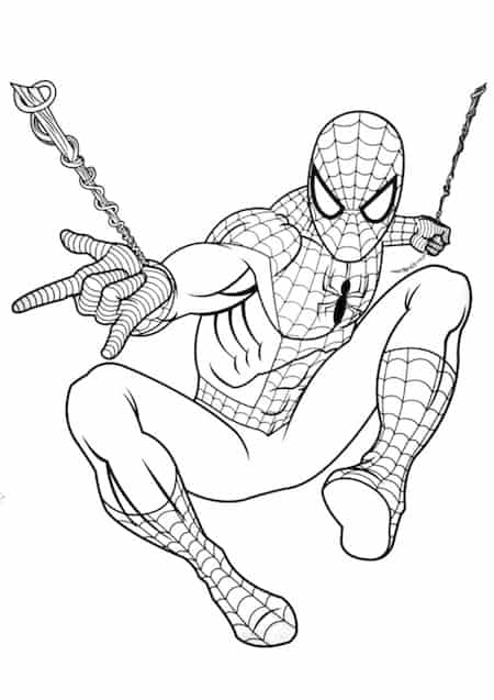 Spider man in azione da colorare cose per crescere for Spiderman da colorare per bambini