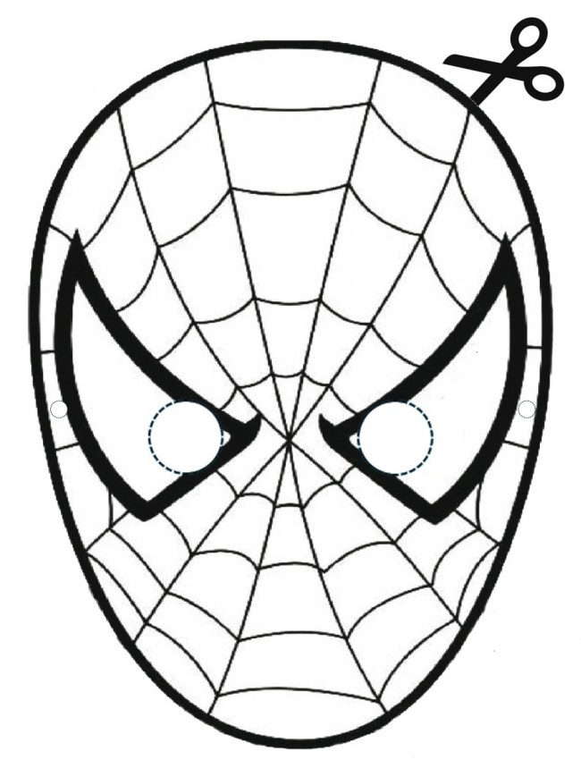 maschera di spiderman da colorare