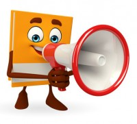 Book Character with loudspeaker