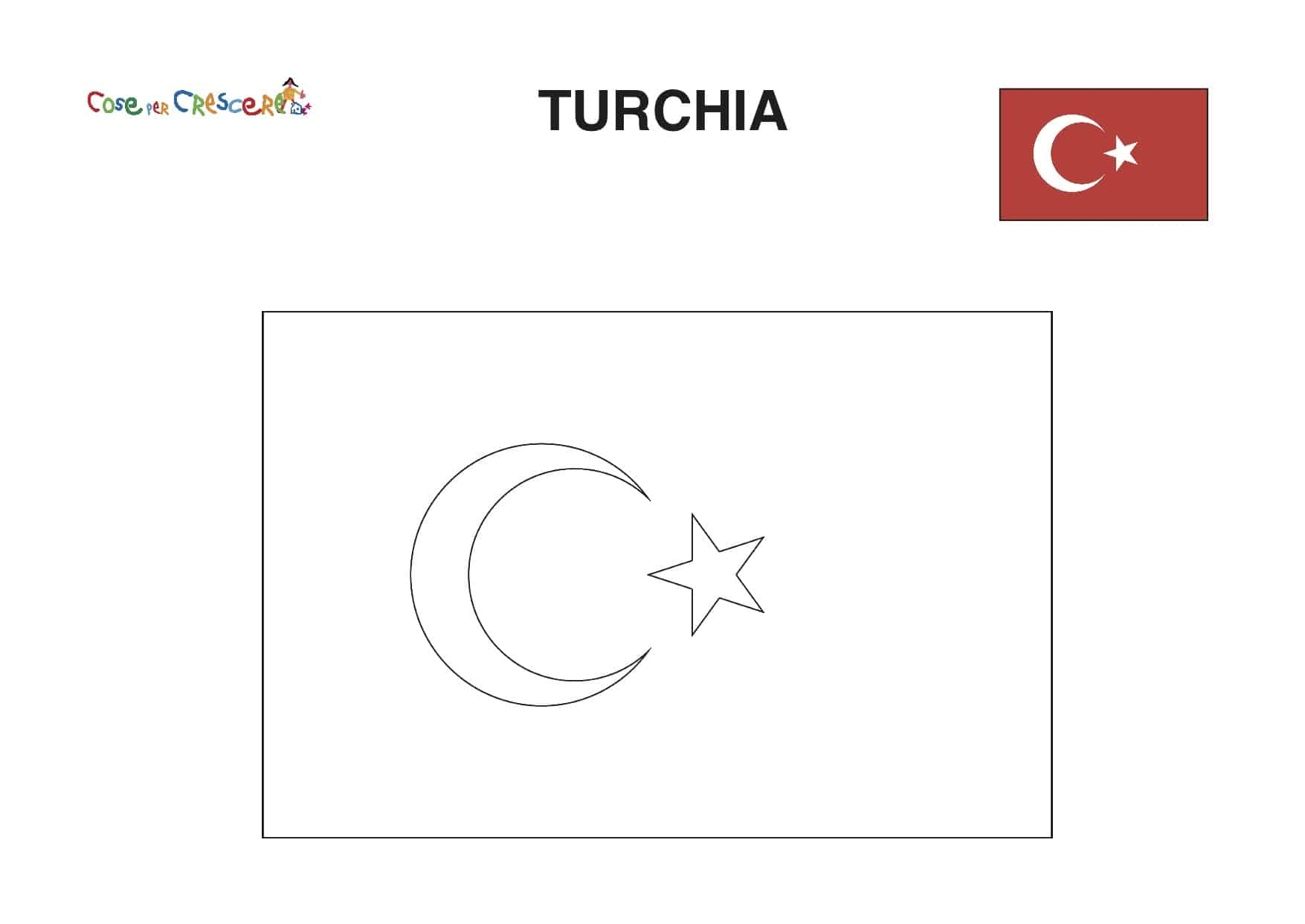 Bandiera Turchia da colorare