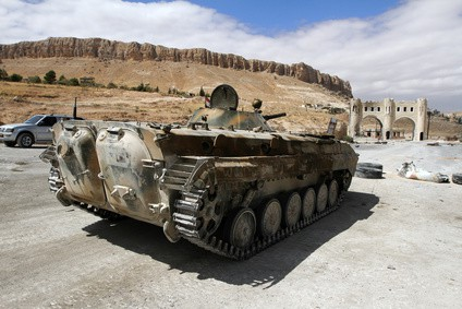Infantry fighting vehicle of the Syrian National Army near the entry to Ma'loula town, Syria, September 2013