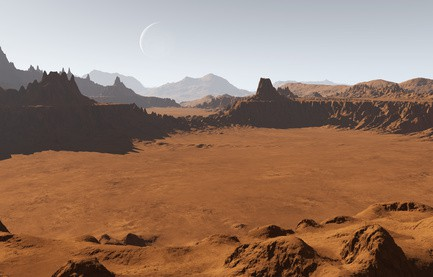 Martian landscape with craters and moon