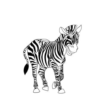 Zebra isolated on white background. Cartoon black and white  illustration.