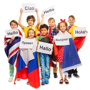 Kids greeting each other in different languages