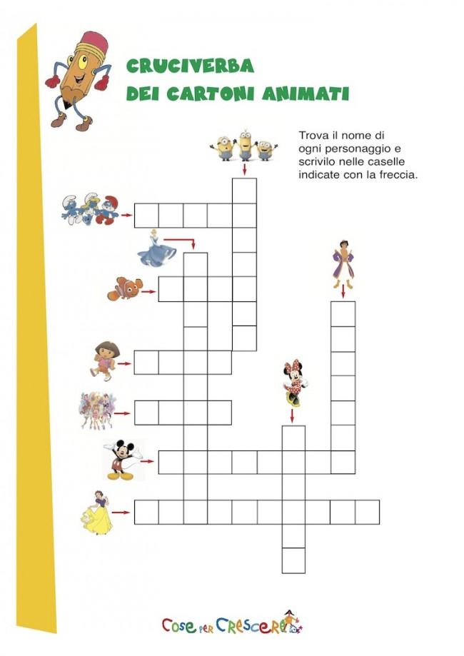 Cruciverba per bambini - cartoni animati