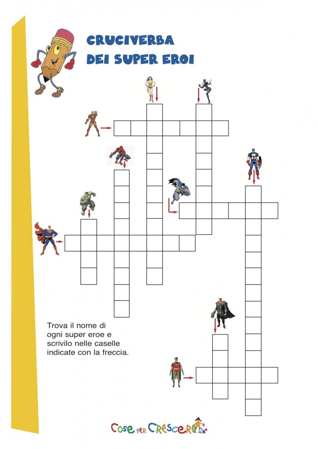 Cruciverba per bambini - supereroi