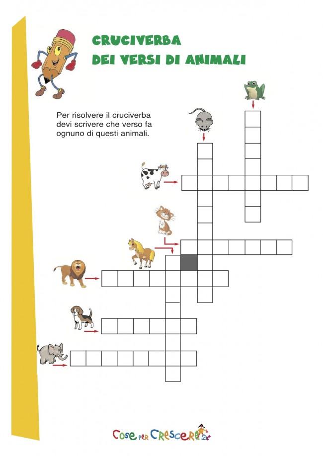 Cruciverba sui versi degli animali cose per crescere for Cruciverba facili per bambini