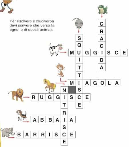 Cruciverba Sui Versi Degli Animali Cose Per Crescere