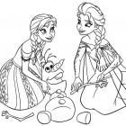 Elsa, Anna e Olaf da colorare
