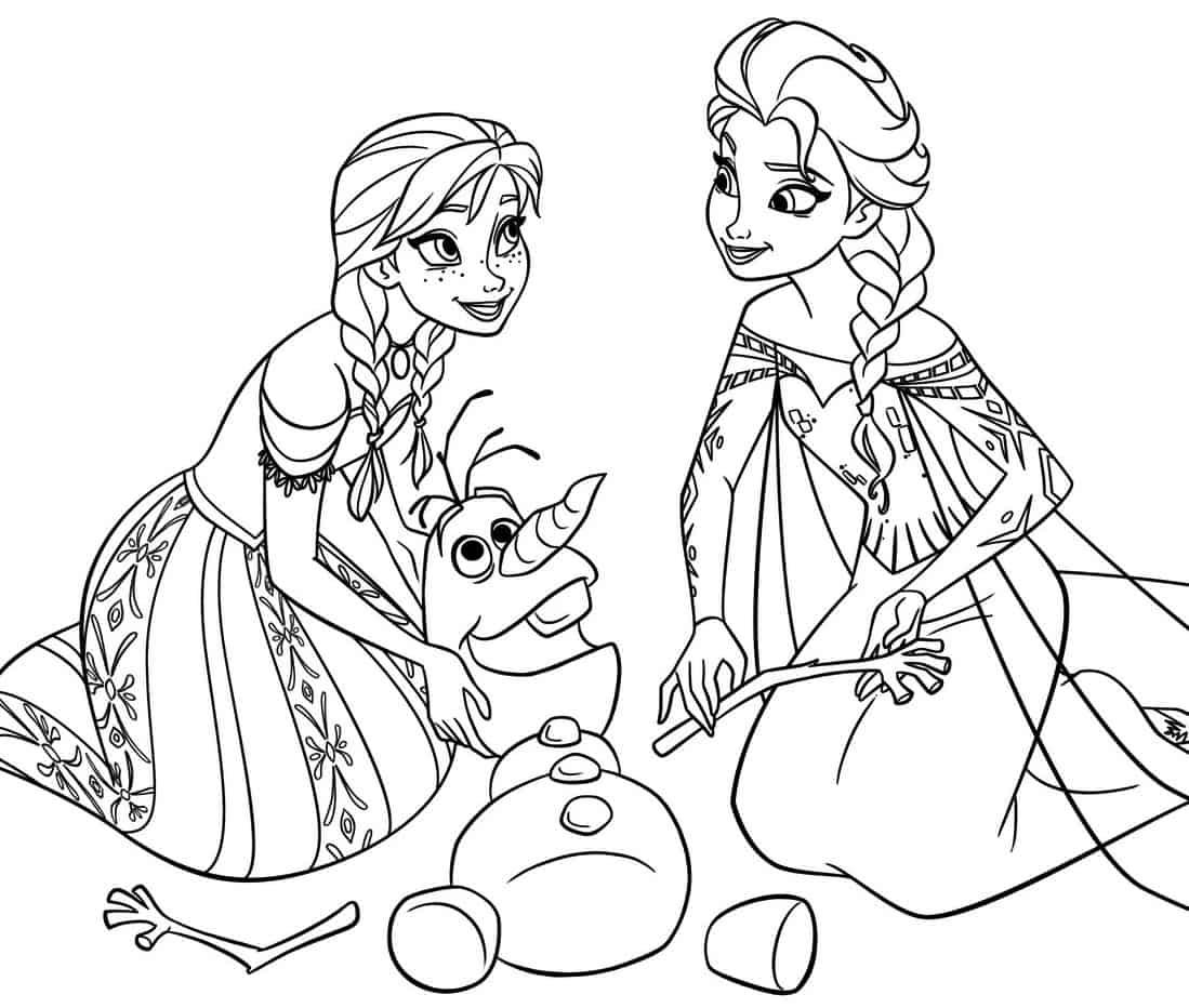 Disegni Da Colorare Elsa E Olaf.Frozen Personaggi Da Colorare Elsa Anna E Olaf