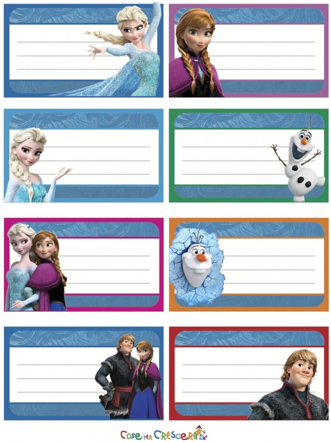 Super Etichette Frozen da stampare - Cose Per Crescere FD92