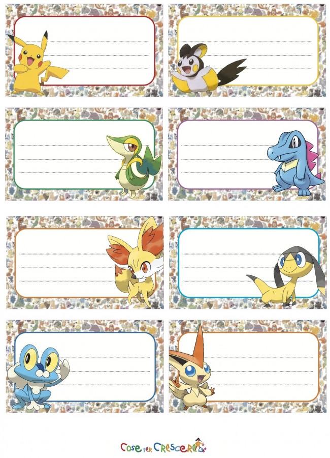 Etichette Pokémon da stampare