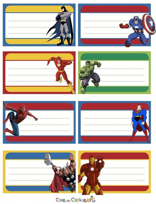 Etichette Con Supereroi Da Stampare Cose Per Crescere