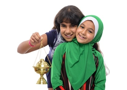 Two Happy Girls Celebrating Ramadan