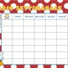 Calendario settimanale per la scuola