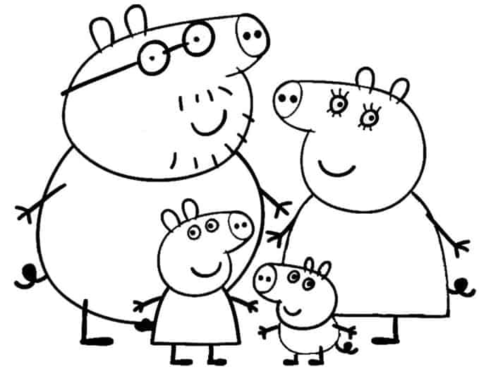 Famiglia Peppa Pig da colorare