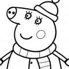 Peppa Pig in inverno da colorare