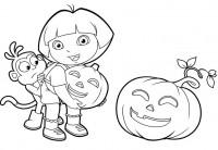 Dora l'esploratrice ad Halloween da colorare
