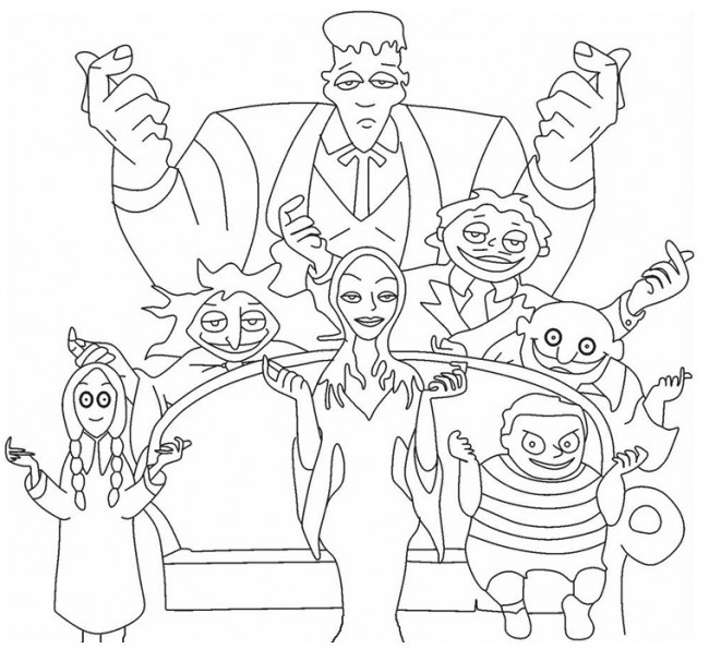 Famiglia Addams da colorare