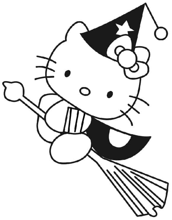 Hello Kitty strega da colorare