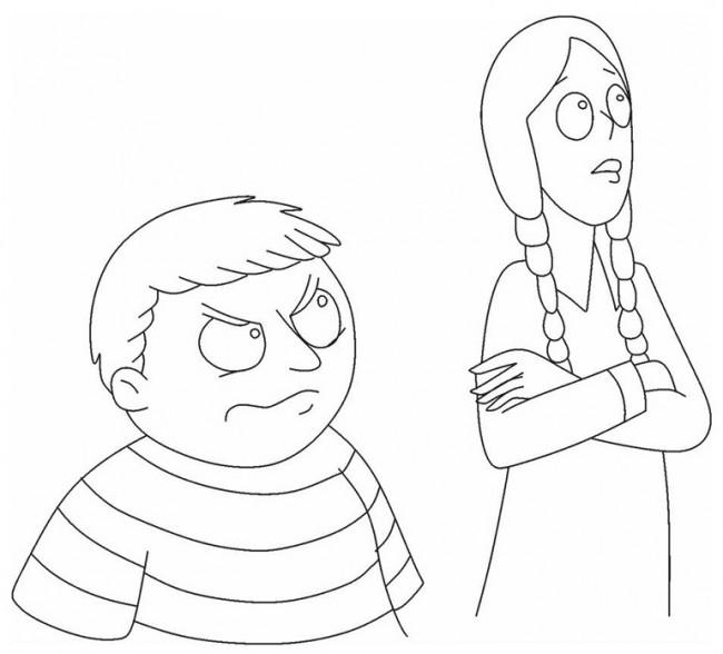 Figli famiglia Addams da colorare