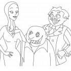 Morticia, Gomez e Fester da colorare
