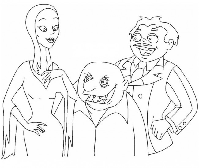 Morticia, Gomez e zio Fester da colorare