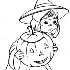 Streghetta di Halloween da colorare