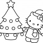 Hello Kitty da colorare per Natale