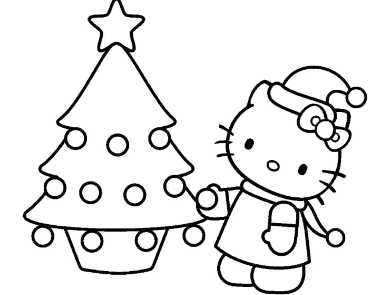 Hello Kitty da colorare a Natale