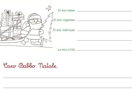 Lettera a Babbo Natale da colorare