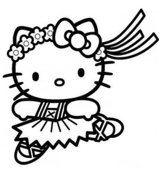 Hello Kitty ballerina da colorare