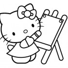 Hello Kitty che disegna da colorare
