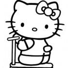 Hello Kitty sul monopattino da colorare